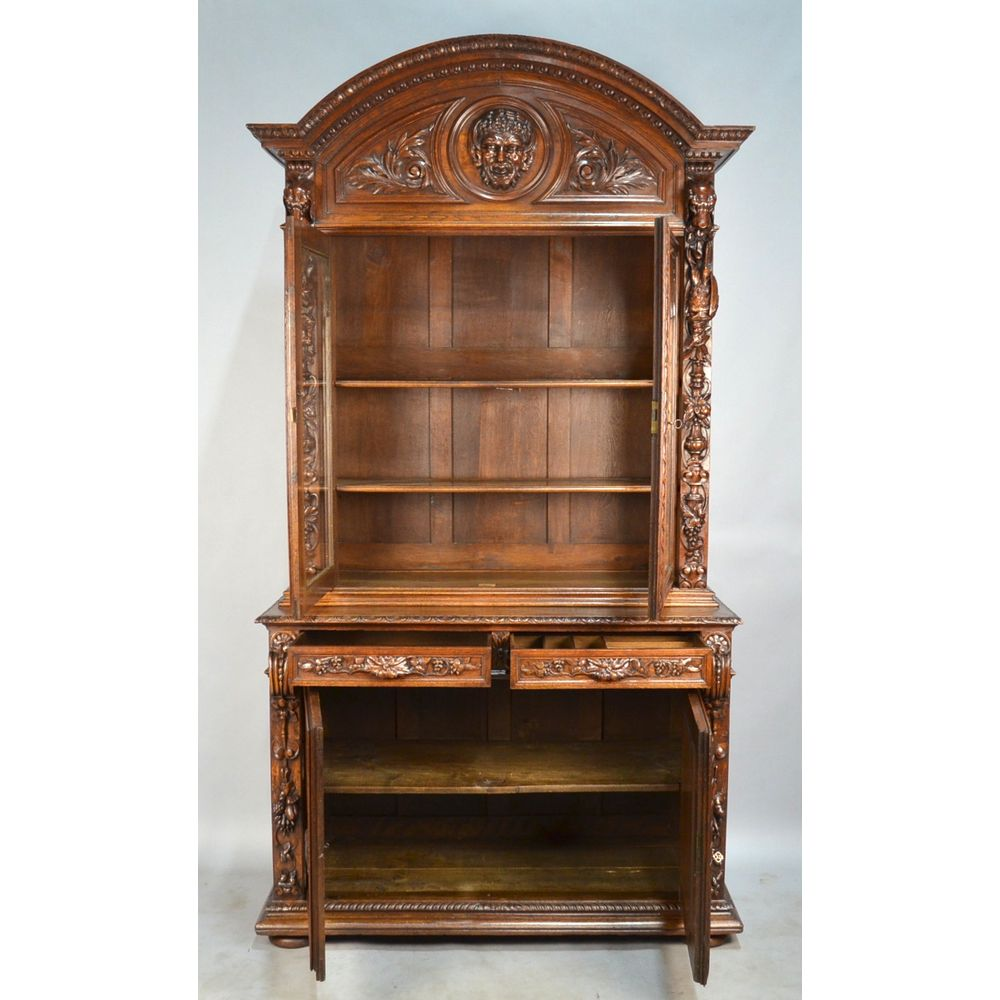 ... 5857_DSC_0680_result.jpg ... - Exquisite Antique French Carved Oak Louis XIII Hunt Gun Cabinet