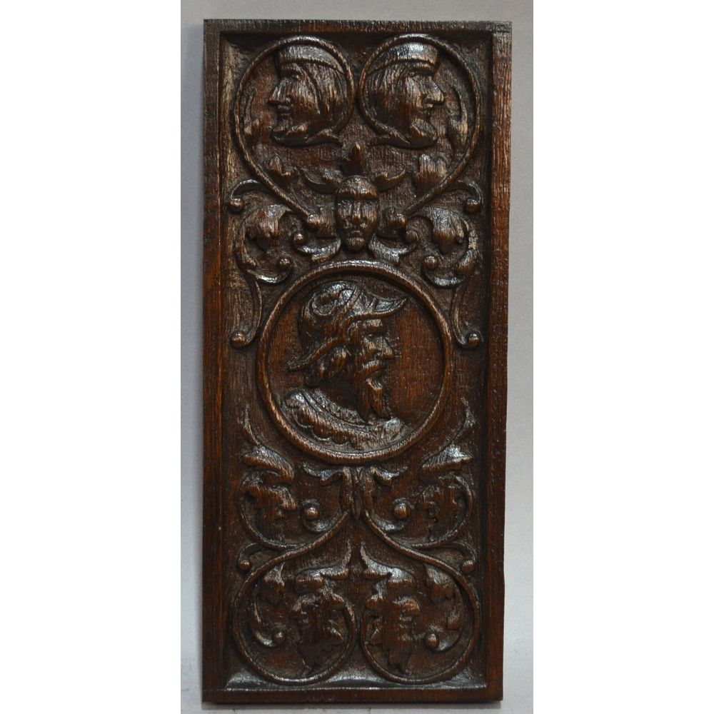 Antique th century english carved oak figural panel