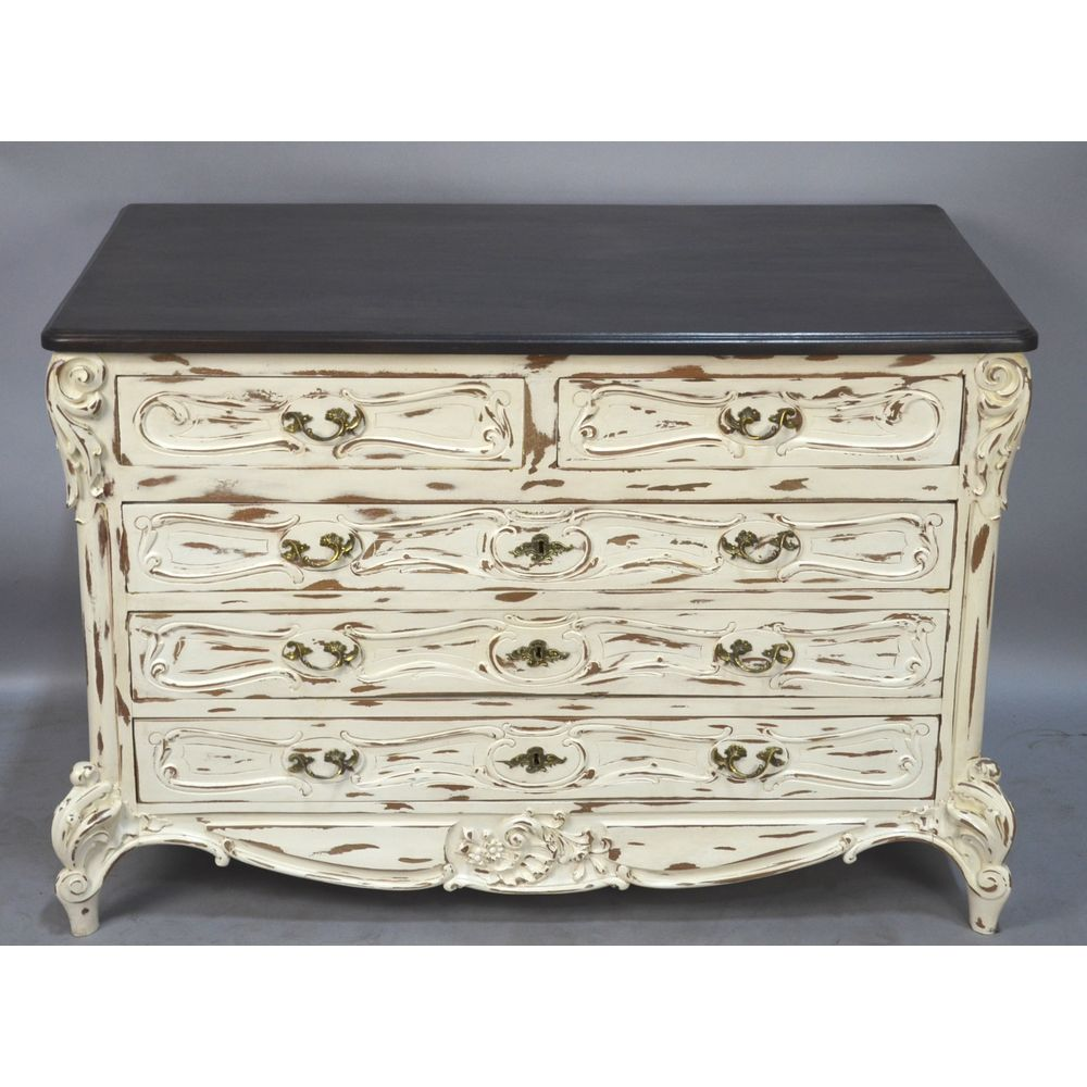 Antique White Painted Distressed Louis Xv French Country