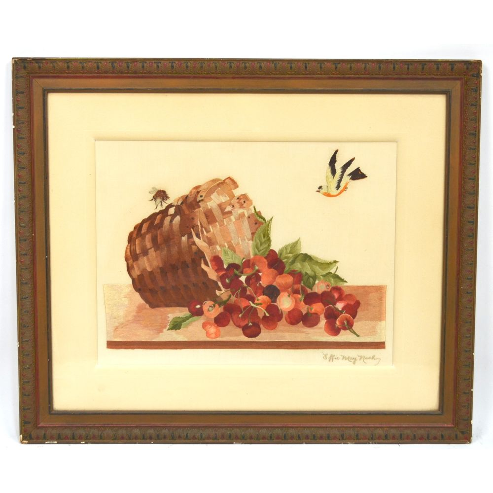 Exceptional Antique Still Life Silk Embroidery Framed Wall