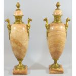 Antique French Empire Quartz Bronze Mounted Urns