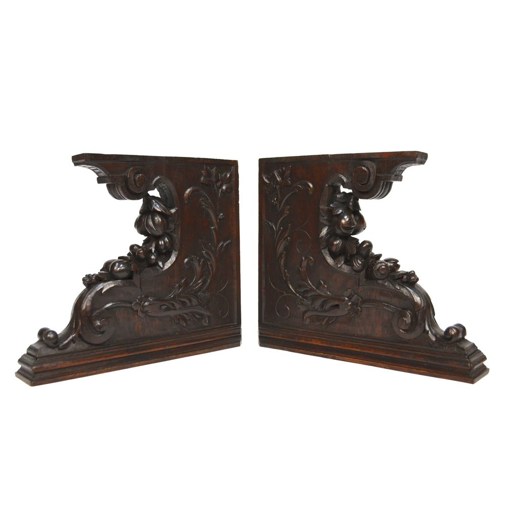 Pair antique french carved oak architectural salvaged for Architectural corbels and brackets