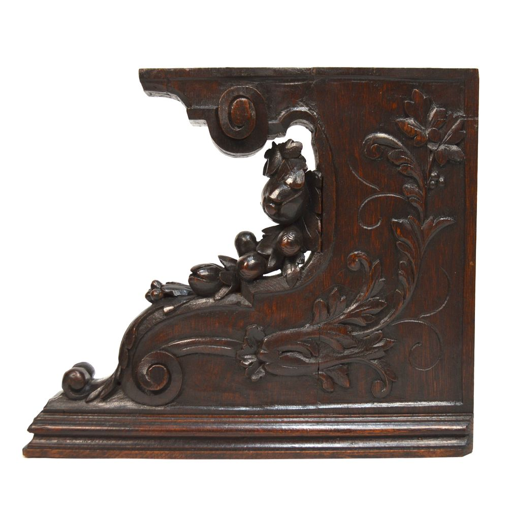 Pair Antique French Carved Oak Architectural Salvaged ...