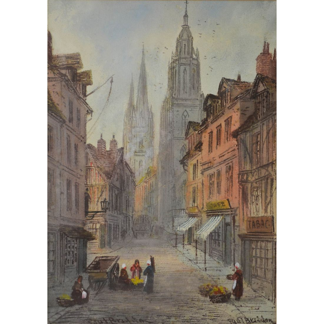 Paul Braddon 1864 1938 English Watercolour Painting Of A European City Amp Cathedral Musing