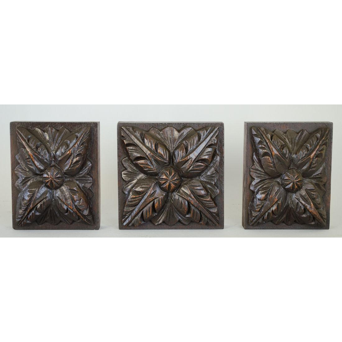 Three Antique Carved Oak English Louis Xiii Style