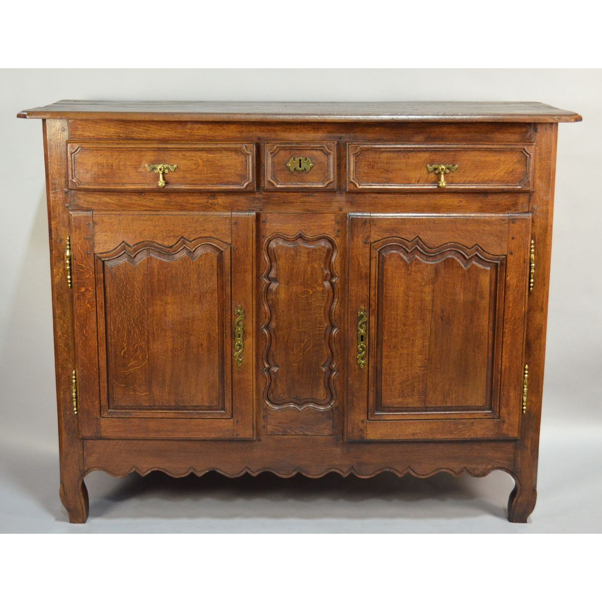 Antique 18th C. Carved Oak Rustic French Country Louis XV
