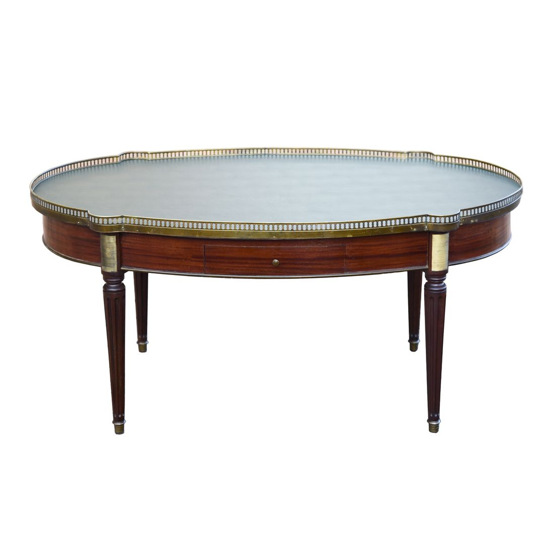 Details About Stunning French Louis Xvi Style Oval Leather Top Mahogany Tail Coffee Table
