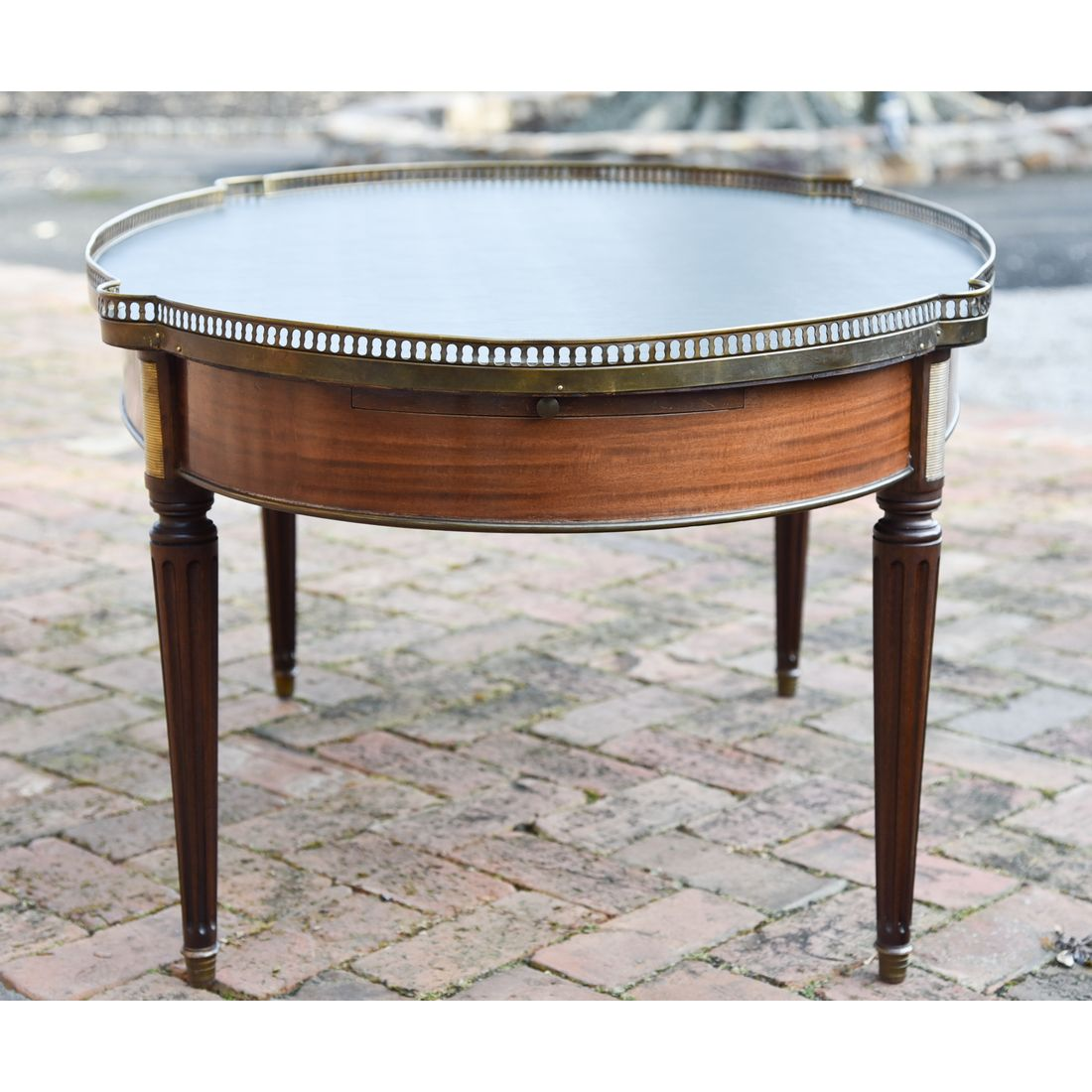 French Oval Coffee Table: French Louis XVI Style Oval Leather Top Mahogany Cocktail
